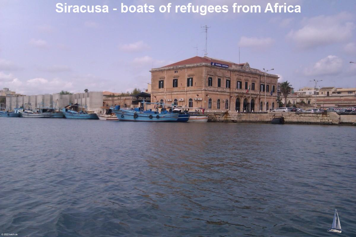 Siracusa - boats of refugees from Africa
