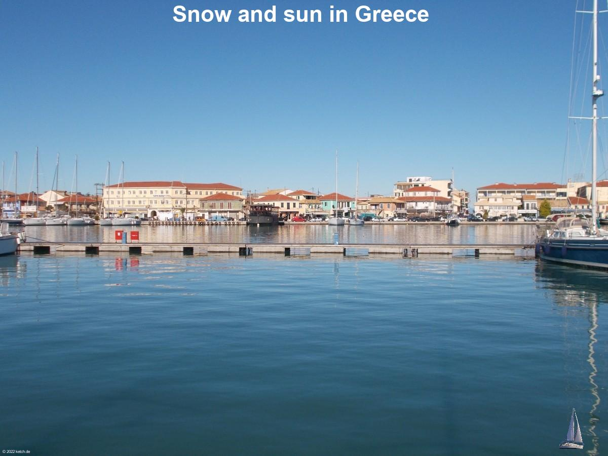 Snow and sun in Greece