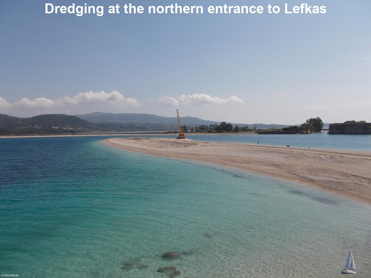 Dredging at the northern entrance to Lefkas